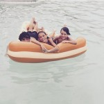 Pool and inflatable pizza with The Sumners solafide Family anotherhellip