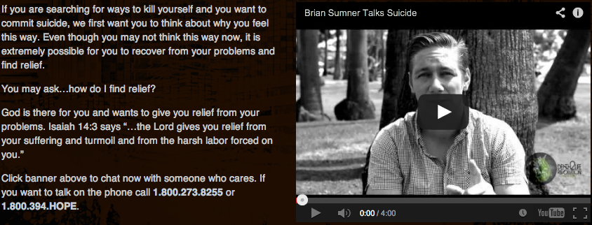 Thanks to Death To Life Revolution for wanting to get videos out reaching teens to do with SUICIDE!