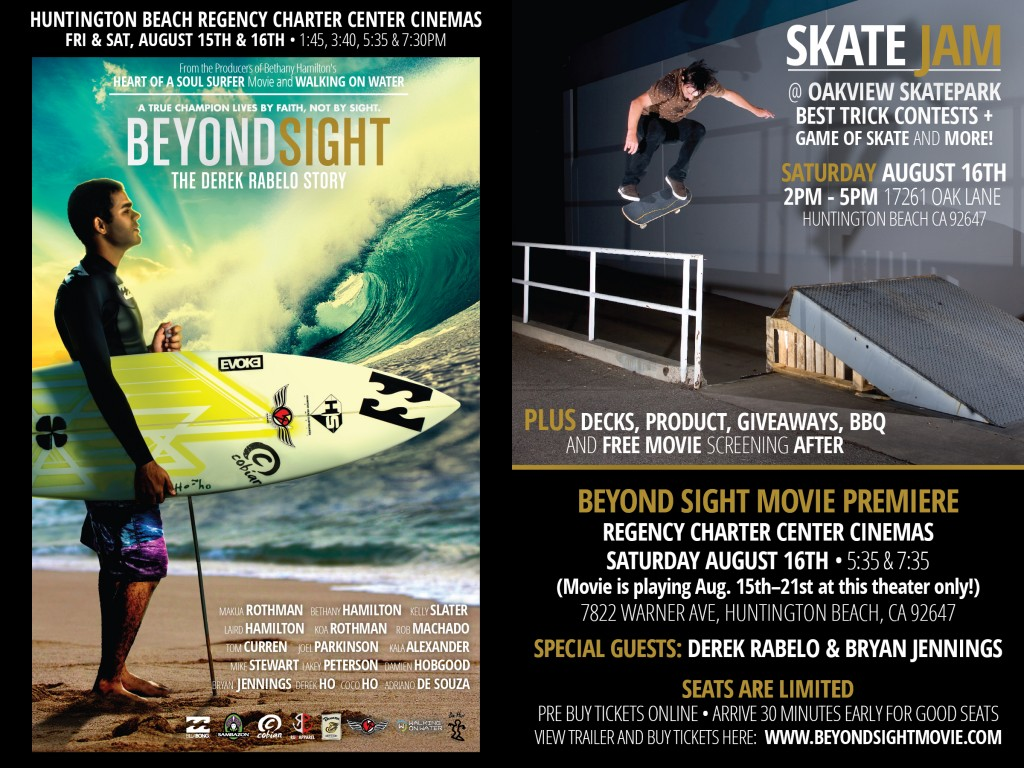 "Upcoming skate event and ""Beyond Sight"" movie showing."
