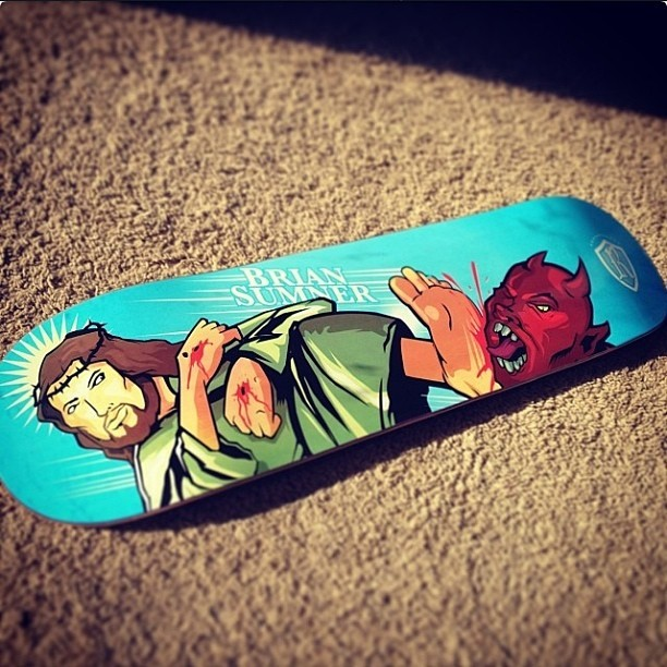 "Here's The Reliance skate deck based around Genesis 3:15, that Jesus would come and ""crush"" the serpents head."