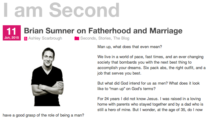 "Recent Article on ""Fatherhood and Marriage"" for I Am Second! Click on the image."